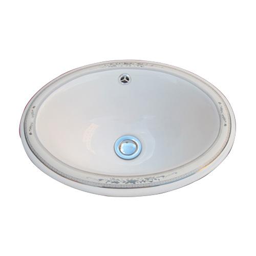 洗面ボウル 陶器 オーバーカウンター 埋め込み オーバル 楕円 ボタニカルデザイン 幅42cm INK-0403076H