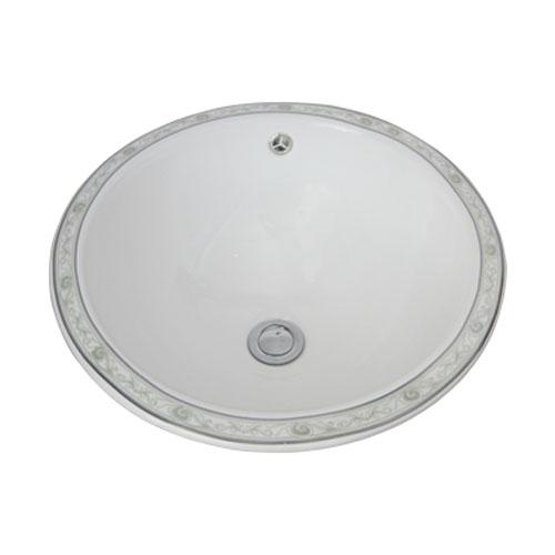 洗面ボウル 陶器 オーバーカウンタータイプ 埋め込み ラウンド ボタニカルデザイン 幅42cm INK-0403034H