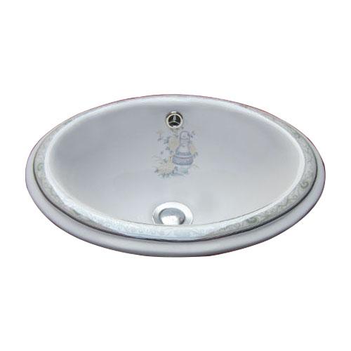 洗面ボウル 陶器 オーバーカウンター 埋め込み オーバル 楕円 ボタニカルデザイン 幅42cm INK-0403073H