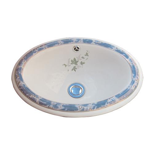 洗面ボウル 陶器 オーバーカウンター 埋め込み オーバル 楕円 ボタニカルデザイン 幅42cm INK-0403071H