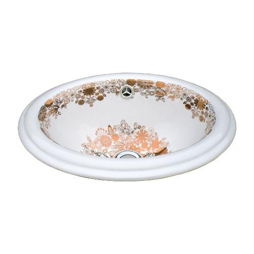 洗面ボウル 陶器 オーバーカウンター 埋め込み オーバル 楕円 ボタニカルデザイン 幅41cm INK-0403235H