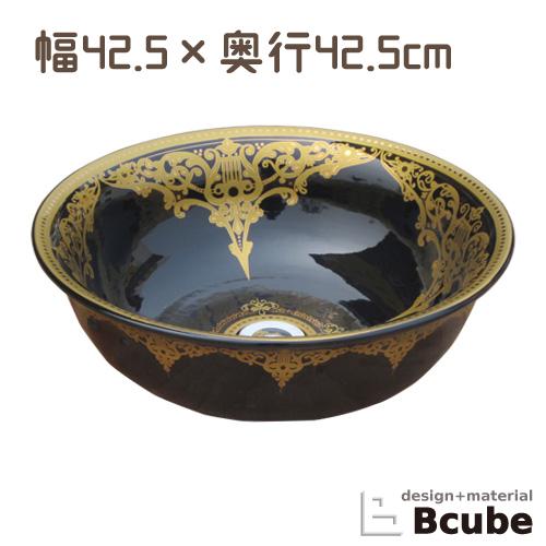 洗面ボウル おしゃれ 陶器 オンカウンター 置き型 ラウンド 丸 幅42.5×奥行42.5×高15cm INK-0403130H