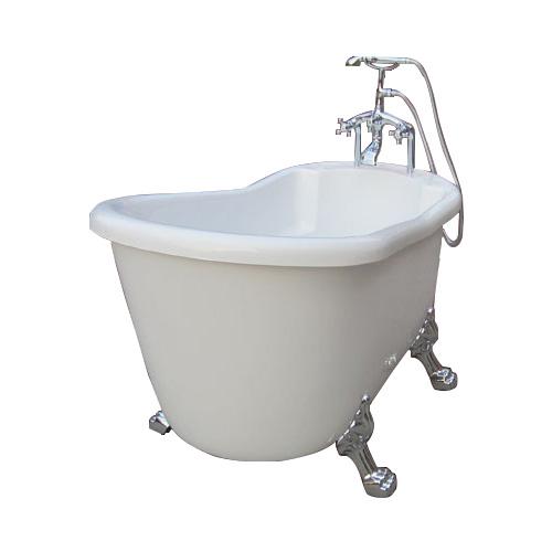 猫足バスタブ 浴槽 選べる カラー 置き型 ディスプレイ アンティーク 猫足バスタブ 置き型 シャワーヘッド付き混合水栓 シルバー(銀) セット 幅150cm INK-0201025H