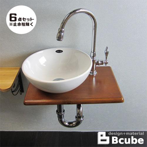 洗面台 おしゃれ コンパクト 陶器洗面ボウル 単水栓の6点セット 幅40cm Eセット38a INK-0504075Hset