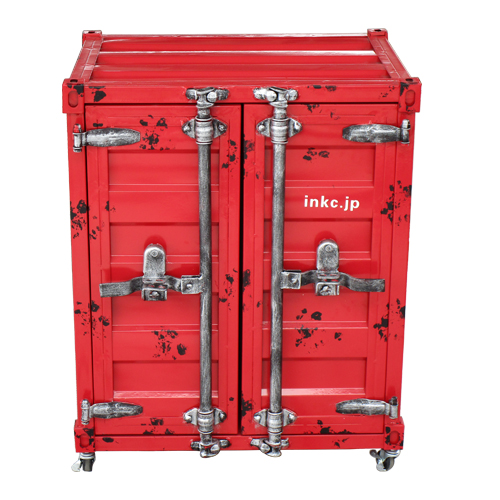 洗面台 洗面化粧台 収納 コンテナボックス レッド スチームパンク 幅61×高76cm INK-0501078H