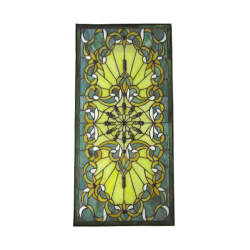 ステンドグラス 窓枠 ドア パネル アイアン 幅42.5cm INK-1103015H