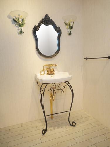 洗面台 洗面化粧台 陶器洗面ボウル 混合水栓の6点セット VIC-12 INK‐1401313Hset2