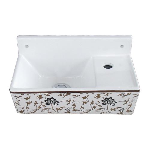 洗面ボウル 陶器 ボタニカル デザイン 壁付けタイプ 幅35.5×奥行19.5×高18cm INK-0403314H