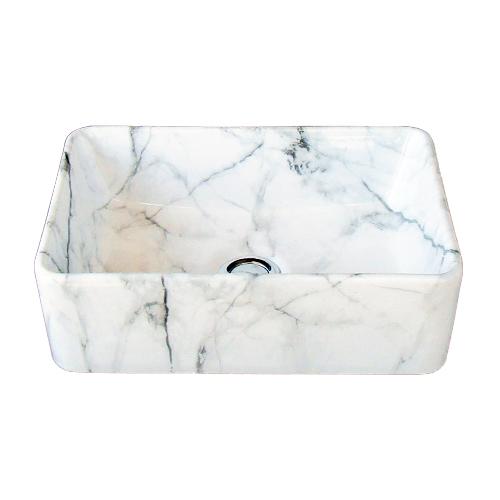 洗面ボウル 陶器 オンカウンター 置き型 四角 スクエア マーブルホワイト 幅36×奥行23×高12cm INK-0403316H