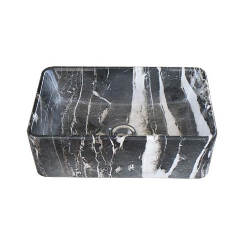 洗面ボウル 陶器 オンカウンター 置き型 四角 スクエア マーブルブラック 幅36×奥行23×高12cm INK-0403317H