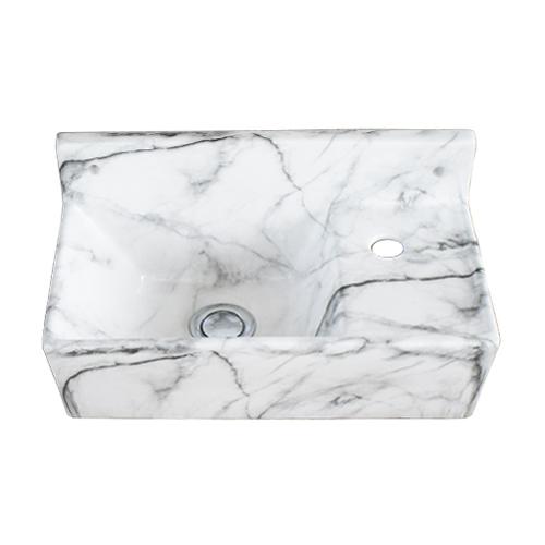 洗面ボウル 陶器 壁付けタイプ 大理石調 マーブル 幅35.5×奥行19.5×高18cm INK-0403311H