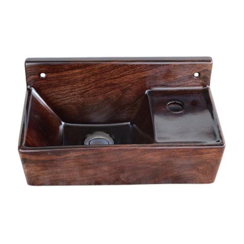 洗面ボウル 陶器 壁付け 木目調 ウッド [幅35.5×奥行19.5×高18cm] INK-0403315H