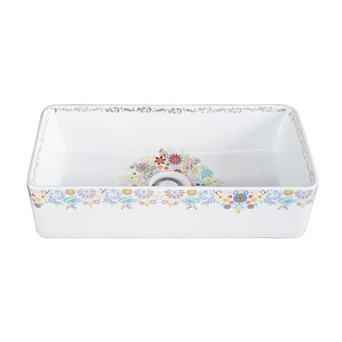 洗面ボウル 陶器 オンカウンター 置き型 四角 花柄 フラワー 幅46×奥行23×高12cm INK-0403324H