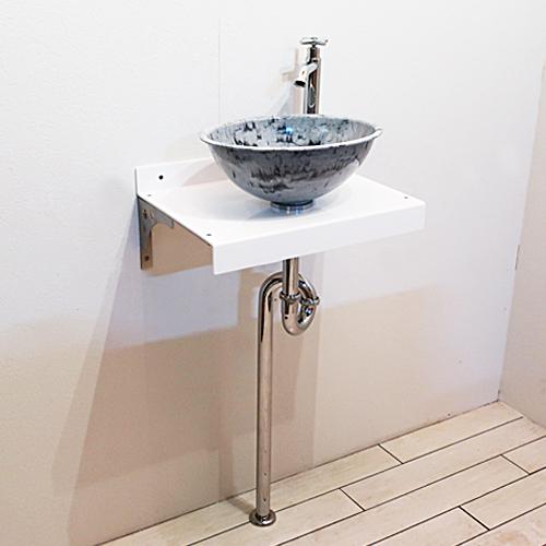 洗面台 コンパクト おしゃれ 日本製 洗面ボウル 単水栓の7点セット 幅45×奥行32cm ホワイト Eセット101 INK-0504167Jset