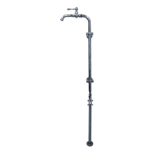 洗面水栓 蛇口 水栓金具 単水栓 ストレート止水栓 セット シルバー(銀) 幅36×吐水口高111.1cm INK-0302084Hset