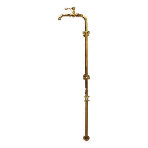 洗面 水栓 おしゃれ 蛇口 水栓金具 単水栓 ストレート止水栓 セット ゴールド(金) 幅27×吐水口高111.1cm INK-0302085Hset
