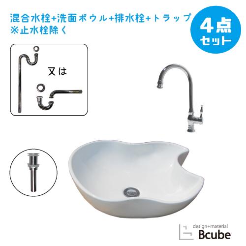選べる洗面ボウル 混合水栓 セット 幅46.5×奥行41×高15cm B-0403151H-SJset16