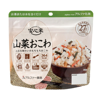 山菜おこわ [50食入] 個食スタンドタイプ 安心米 N(1食タイプ)[ 非常食 5年保存 セット アルファ米 ]