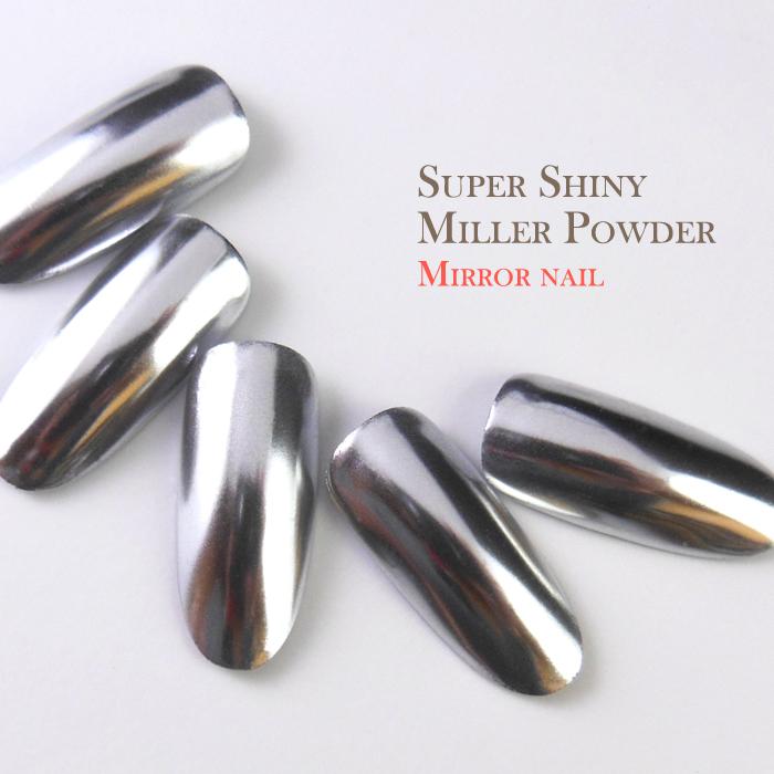 クローム ネイル パーツ メタル メタリック グリッター ミラー 専用チップ2本 オンライン限定商品 ミラーパウダー 約0.5g スーパーシャイニーミラーパウダー parts シルバー nail 2020春夏新作
