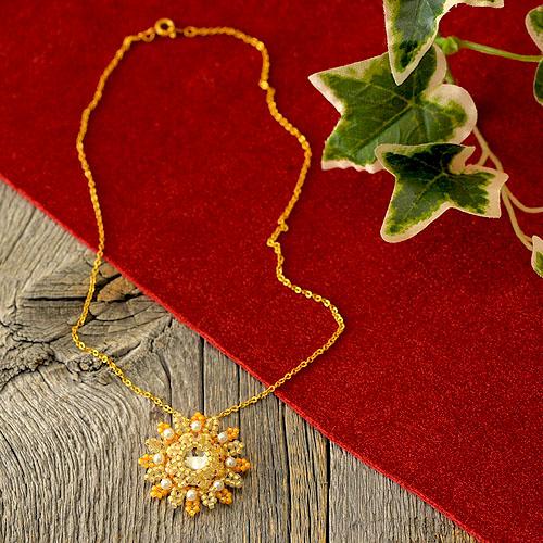TOHO «Takumi LH beads in bead stitches made accessories»  Orange/biscuit/accessories/necklaces/stitch/herringbone /