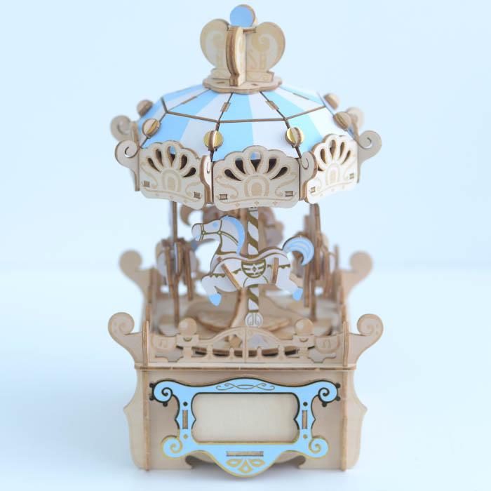 立体パズル 木製 Wooden Art ki-gu-mi オルゴール付き メリーゴーランド  クラフト キット ハンドメイド 手作り インテリア 知育 リハビリ オルゴール 大人 子供 おとな こども 【あす楽対応】 【送料無料】