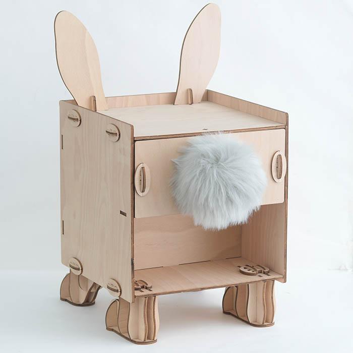 立体パズル 木製 Wooden Art ki-gu-mi Living ウサギ サイドチェスト  クラフト キット ハンドメイド 手作り インテリア 家具 雑貨 収納 知育 リハビリ うさぎ 兎 動物 【送料無料】