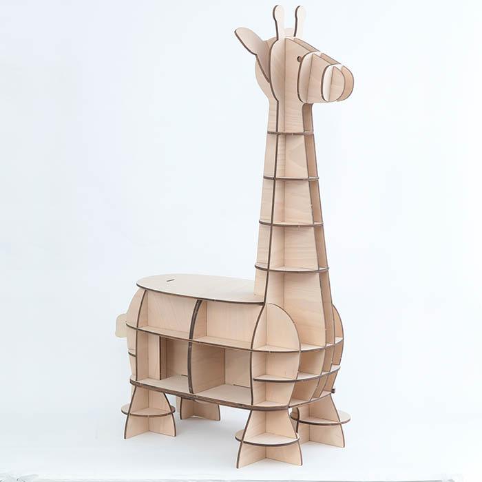 立体パズル 木製 Wooden Art ki-gu-mi Living キリン 収納付きスツール  クラフト キット ハンドメイド 手作り インテリア 家具 雑貨 スツール 知育 リハビリ きりん 動物 座る 大人 子供 おとな こども