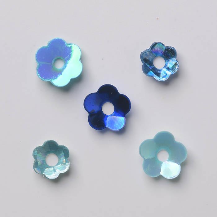 可愛いお花の形のスパンコール5種類セット ハンドメイド パーツ ラティーフ Latief 5種セットブルー系 超歓迎された フラワースパンコール 新品