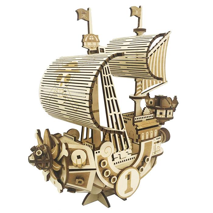作って 飾って 使える木製立体パズルシリーズ 立体パズル 木製 ki-gu-mi ワンピース サウザンド サニー号 MEGA VER. 知育 子供 女の子 送料無料 インテリア セール特価 手作り ハンドメイド キット 登場大人気アイテム クラフト工作 大人