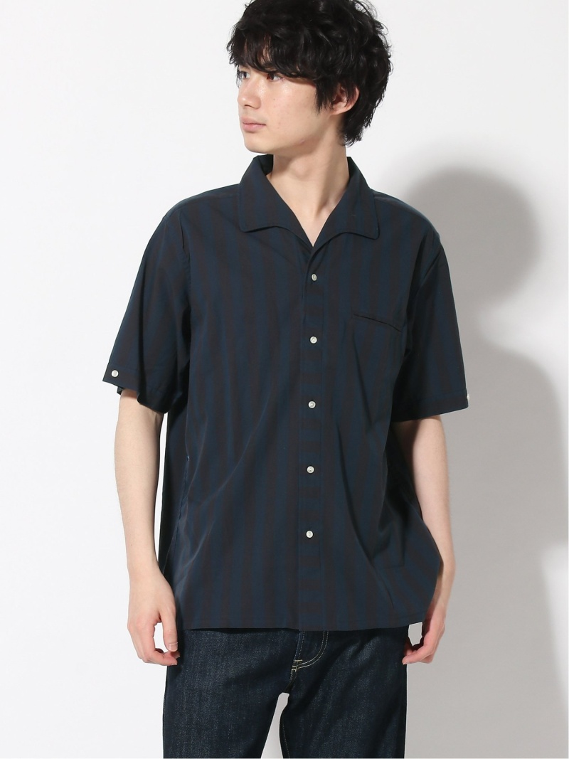 [Rakuten Fashion]BEAMS PLUS / ストライプ柄 イタリアンカラー 半袖 シャツ BEAMS MEN ビームス メン シャツ/ブラウス 半袖シャツ ネイビー【送料無料】