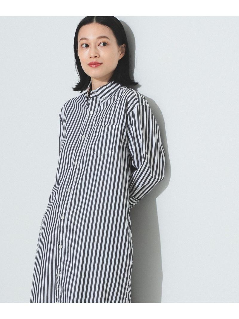 [Rakuten Fashion]BEAMS BOY / ストライプ ボタンダウン ロングスリーブ ワンピース BEAMS BOY ビームス ウイメン ワンピース シャツワンピース ブラック シルバー【送料無料】