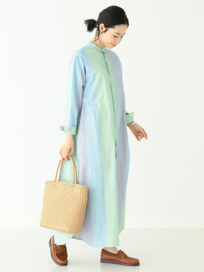 [Rakuten Fashion]BEAMS BOY / マルチストライプ スタンドカラー ワンピース BEAMS BOY ビームス ウイメン シャツ/ブラウス 長袖シャツ ブルー ピンク【送料無料】