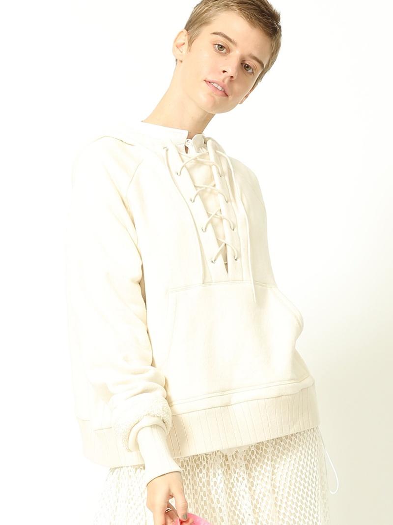 [ Fashion]【SALE/40%OFF】maturely / Lace-up Hood Jersey BEAMS BOY ビームス ウイメン カットソー スウェット ホワイト グレー【RBA_E】【】:BEAMS/ビームス