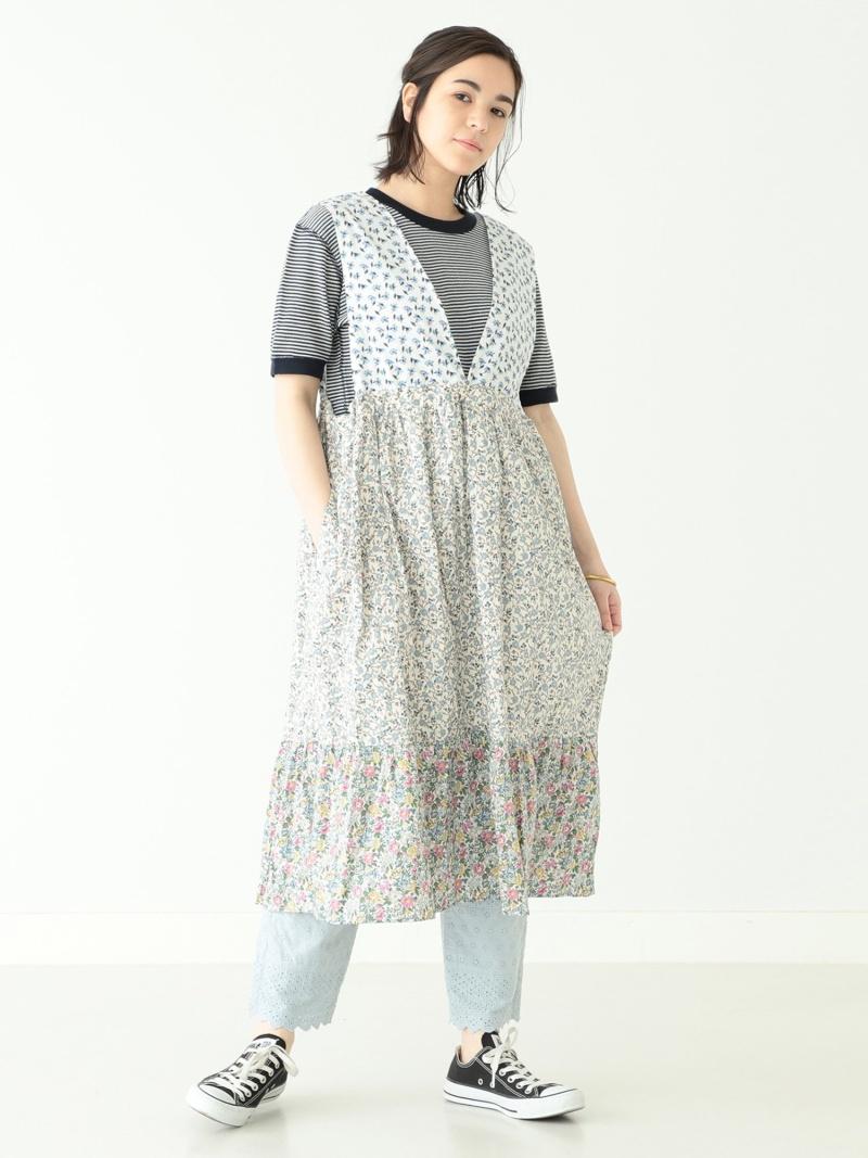 [Rakuten Fashion]BEAMS BOY / リバティ クレイジー エプロン ワンピース BEAMS BOY ビームス ウイメン ワンピース ワンピースその他 ブルー イエロー【送料無料】