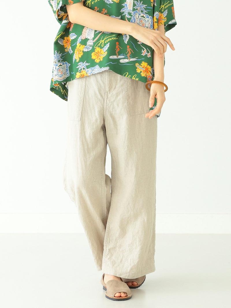 [Rakuten Fashion]BEAMS BOY / リネン ベーカー パンツ BEAMS BOY ビームス ウイメン パンツ/ジーンズ ワイド/バギーパンツ ベージュ ネイビー【送料無料】