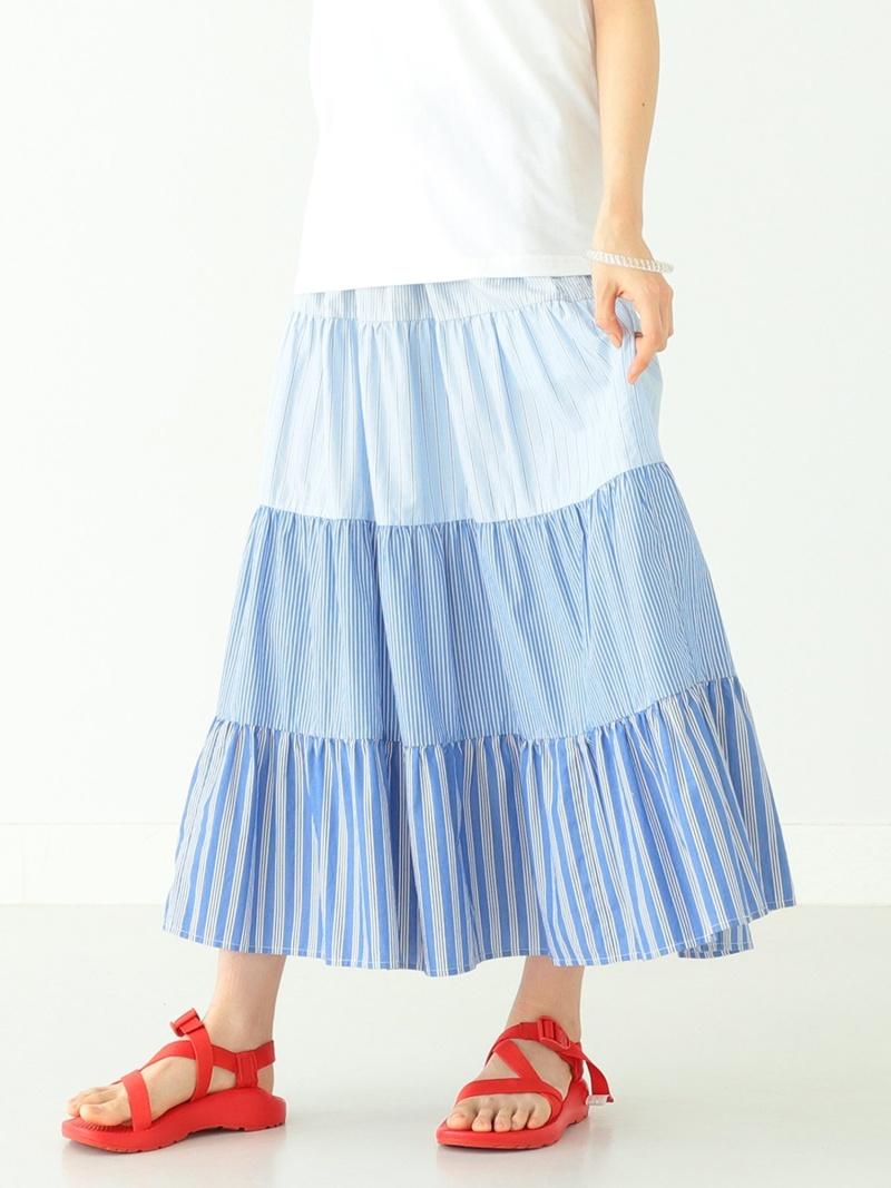 [Rakuten Fashion]BEAMS BOY / コットンローン クレイジー ティアード スカート BEAMS BOY ビームス ウイメン スカート フレアスカート ブルー グリーン【送料無料】