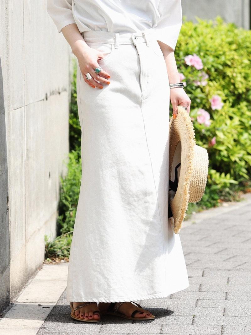 [Rakuten Fashion]BEAMS LIGHTS / デニム フレア ロング スカート ビームス デニムスカート BEAMS LIGHTS ビームスライツ スカート ロングスカート ホワイト【送料無料】