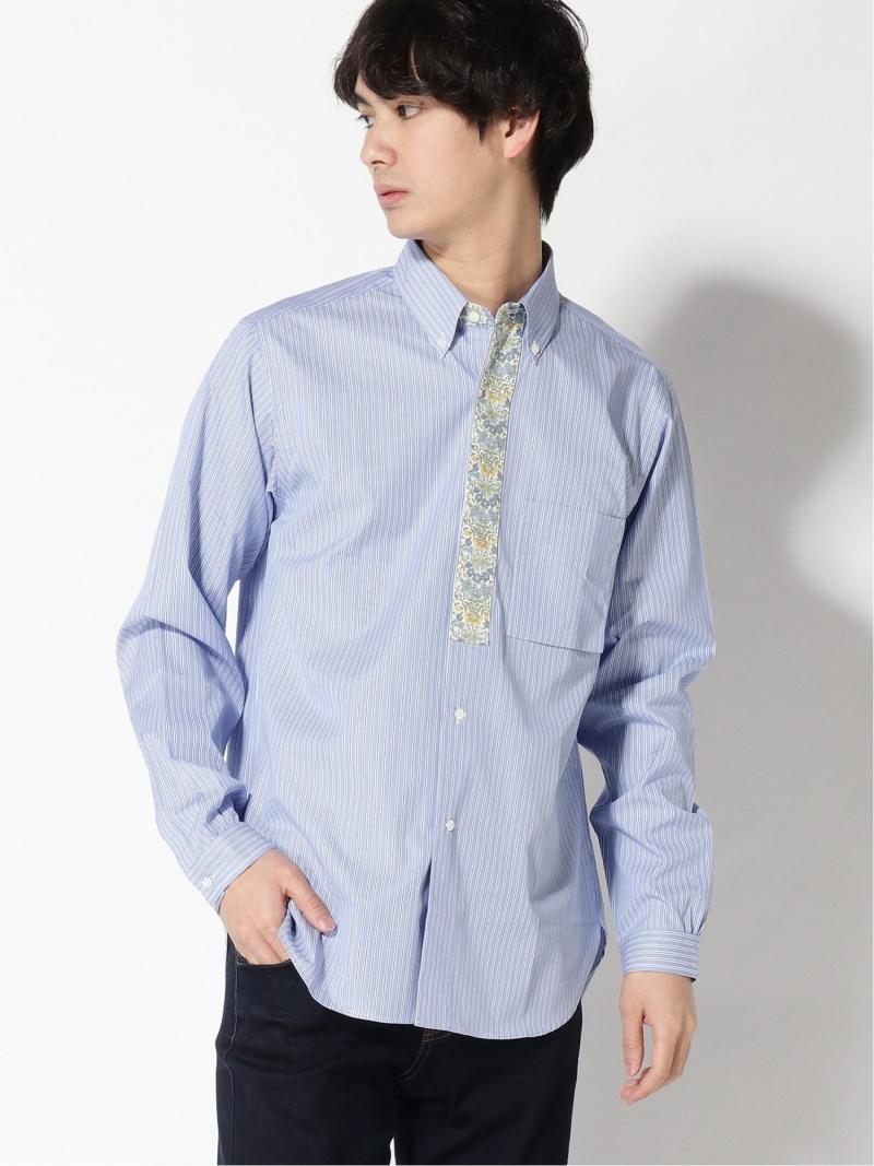 [Rakuten Fashion]TUBE × BEAMS PLUS / 別注 ストライプ フラワー ボタンダウンシャツ BEAMS MEN ビームス メン シャツ/ブラウス 長袖シャツ ブルー【送料無料】