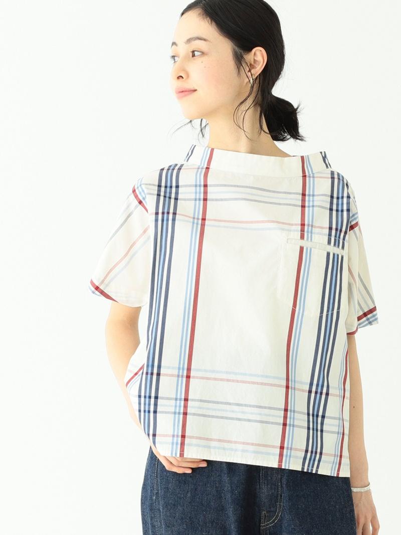 [Rakuten Fashion]BEAMS BOY / ボーイ ビッグタータン プルオーバー ショートスリーブ シャツ BEAMS BOY ビームス ウイメン カットソー Tシャツ ホワイト ネイビー オレンジ【送料無料】