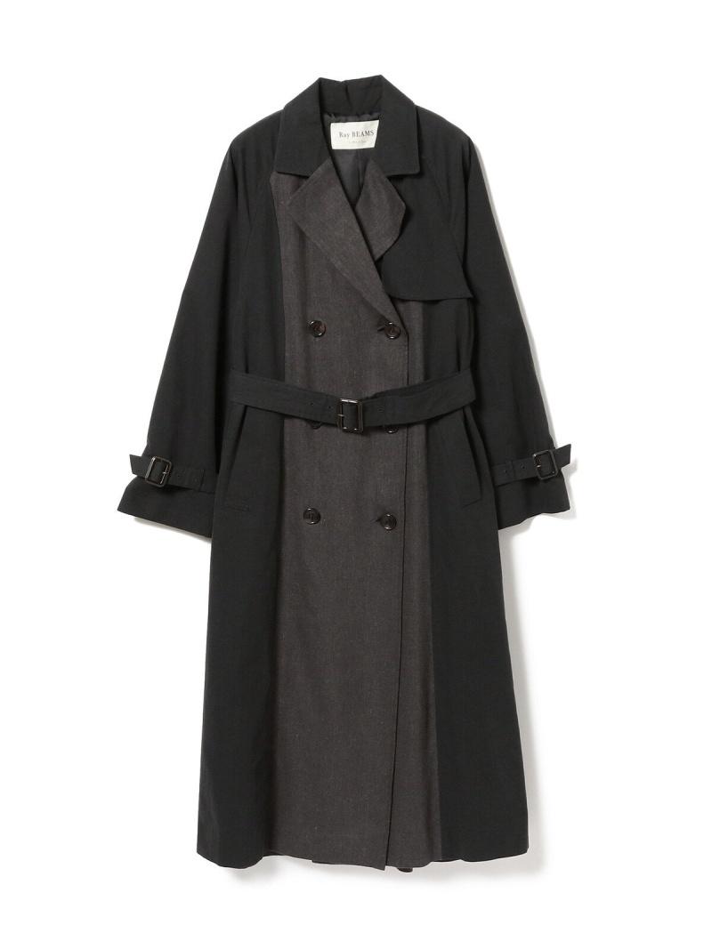 [Rakuten Fashion]【SALE/30%OFF】Ray BEAMS / ヘリンボーン キリカエ トレンチコート Ray BEAMS ビームス ウイメン コート/ジャケット トレンチコート グレー ベージュ【RBA_E】【送料無料】