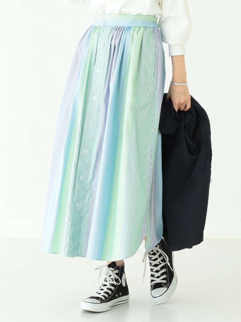 [Rakuten Fashion]BEAMS BOY / マルチ ストライプ シャツ スカート BEAMS BOY ビームス ウイメン スカート フレアスカート グリーン【送料無料】