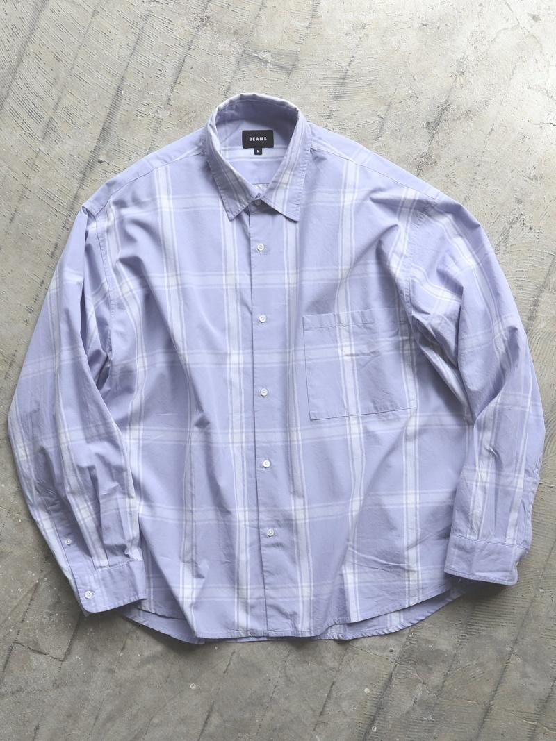[Rakuten Fashion]B.SHORT WIDE MR BEAMS MEN ビームス メン シャツ/ブラウス 長袖シャツ パープル ホワイト【送料無料】