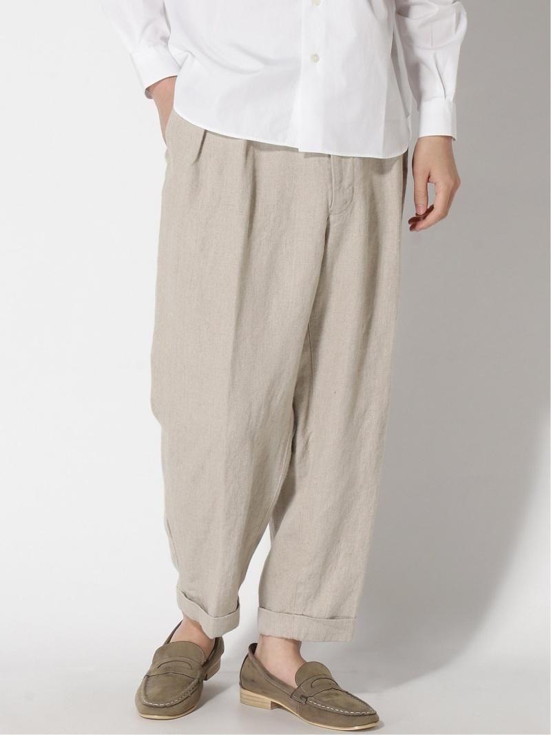 [Rakuten Fashion]BEAMS PLUS / 2プリーツ リネンパンツ BEAMS MEN ビームス メン パンツ/ジーンズ クロップド/半端丈パンツ ベージュ ネイビー カーキ【送料無料】