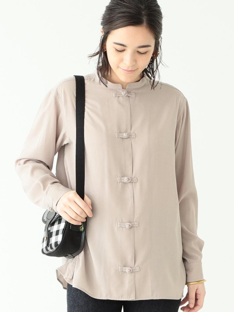 [Rakuten Fashion]BEAMS BOY / サテン チャイナ ロングスリーブ シャツ BEAMS BOY ビームス ウイメン シャツ/ブラウス 長袖シャツ ベージュ ブルー【送料無料】