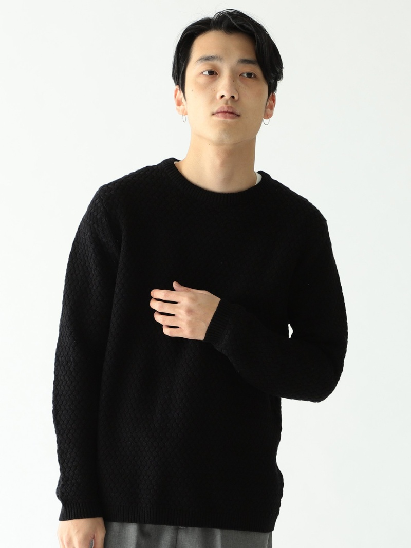 [Rakuten Fashion]BEAMS / バスケット クルーネック ニット BEAMS MEN ビームス メン ニット 長袖ニット ブラック グリーン ホワイト【送料無料】