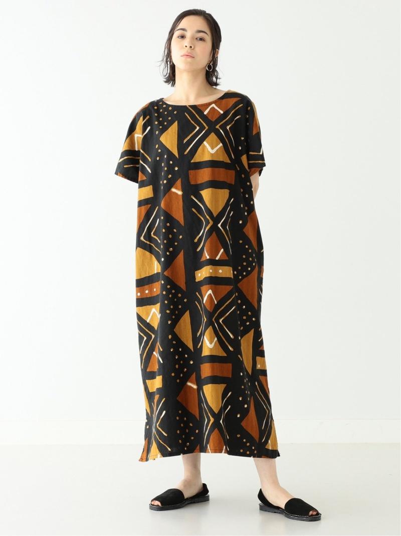 [Rakuten Fashion]orslow × BEAMS BOY / 別注 African Print One-piece BEAMS BOY ビームス ウイメン ワンピース 半袖ワンピース ブラウン【送料無料】