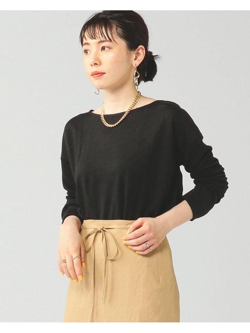 [Rakuten Fashion]BEAMS LIGHTS / リネン ボートネック カットソー ビームス BEAMS LIGHTS ビームスライツ カットソー Tシャツ ブラック ホワイト【送料無料】