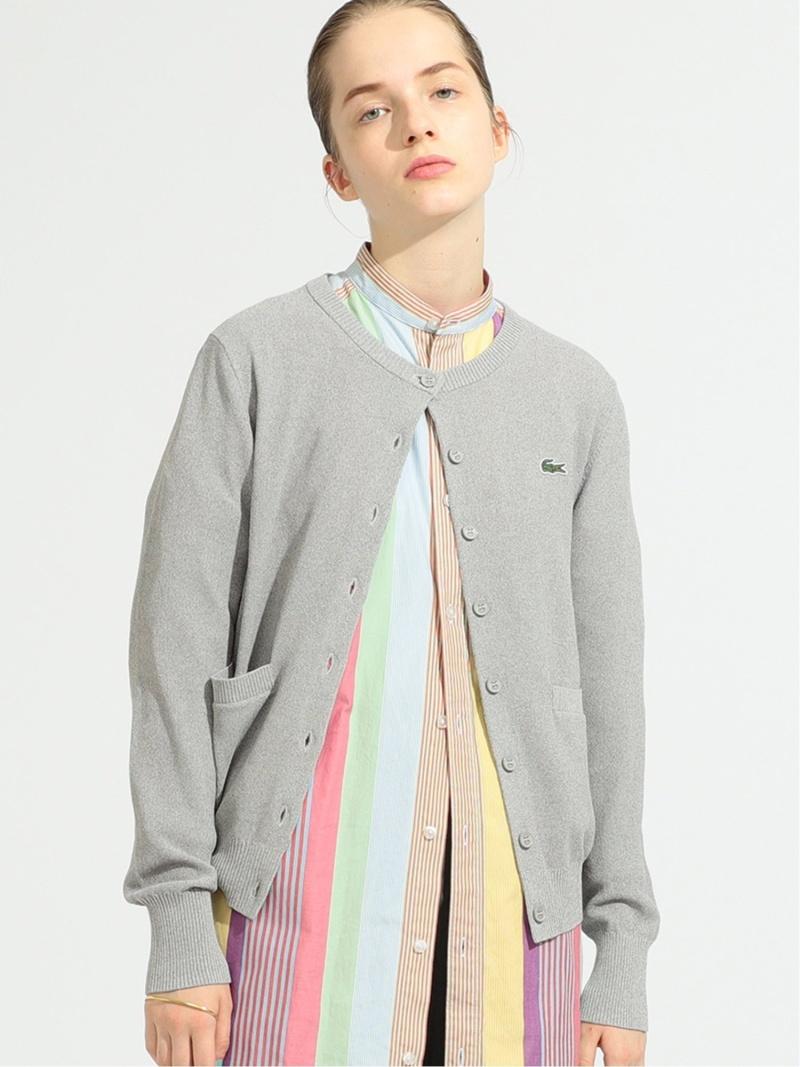 [Rakuten Fashion]LACOSTE × BEAMS BOY / 別注 ニットカーディガン BEAMS BOY ビームス ウイメン ニット カーディガン グレー ネイビー ブラック【送料無料】