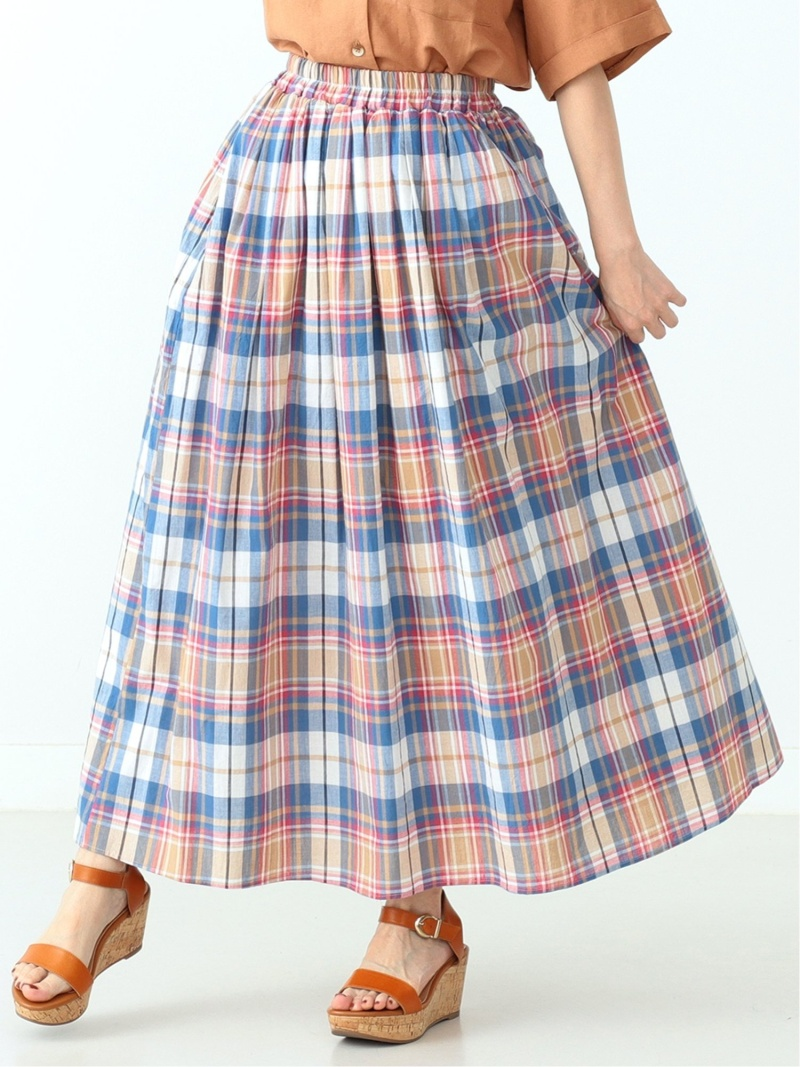 [Rakuten Fashion]CAROLINA GLASER / マドラスチェック スカート カロリナグレイサー BEAMS ビームス CAROLINA GLASER カロリナ グレイサー スカート ロングスカート ベージュ グリーン【送料無料】