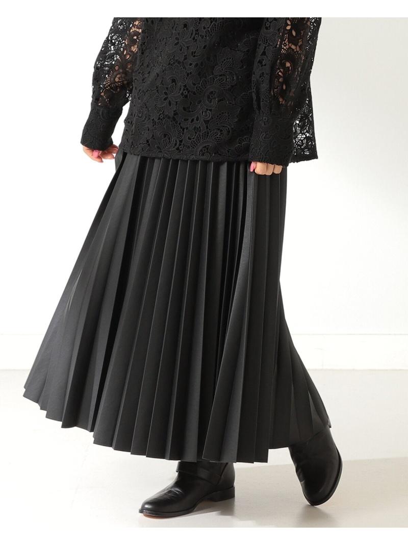 1101siskt Demi-Luxe BEAMS レディース スカート デミルクス 待望 全国一律送料無料 ビームス Rakuten 送料無料 ギャザースカート Fashion フェイクレザー プリーツスカート ブラック